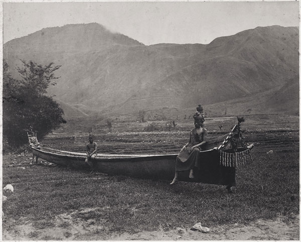 Batak war canoe near Lake Toba, Sumatra, 1870