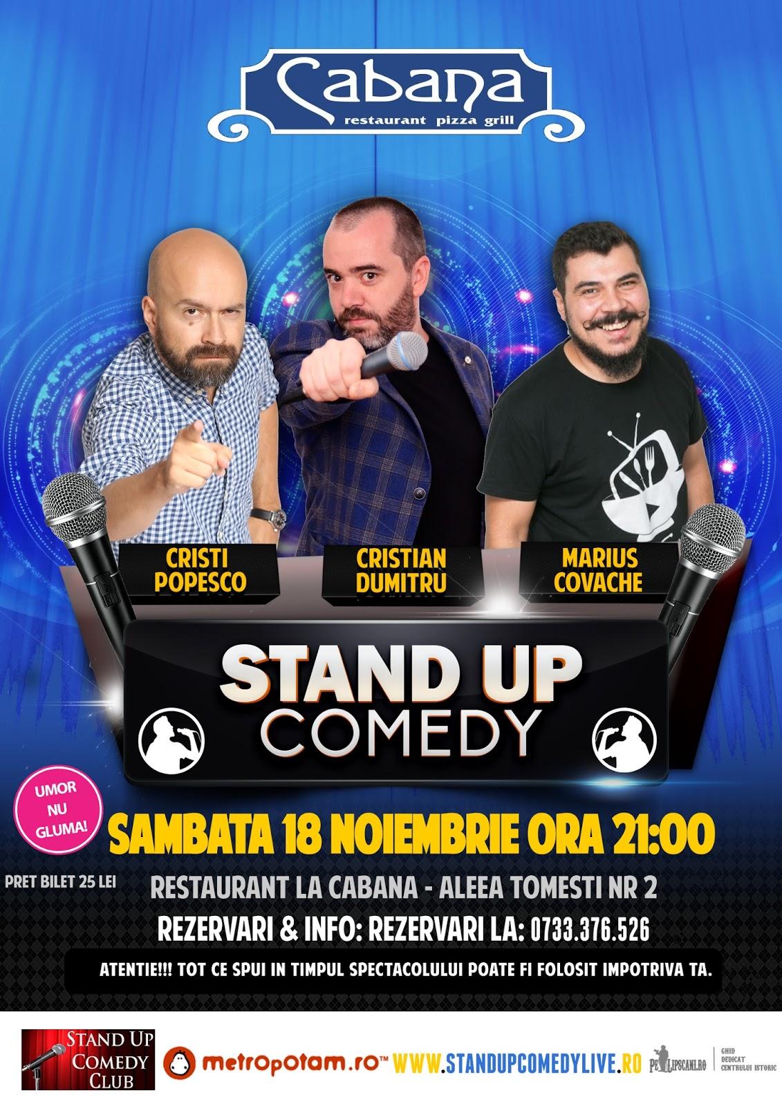 Stand-Up Comedy Bucuresti Sambata 18 Noiembrie @Rest. La Cabana