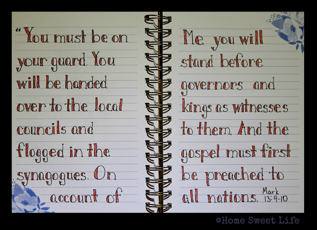 Scripture Writing, Mark 13:9-10, hand lettering