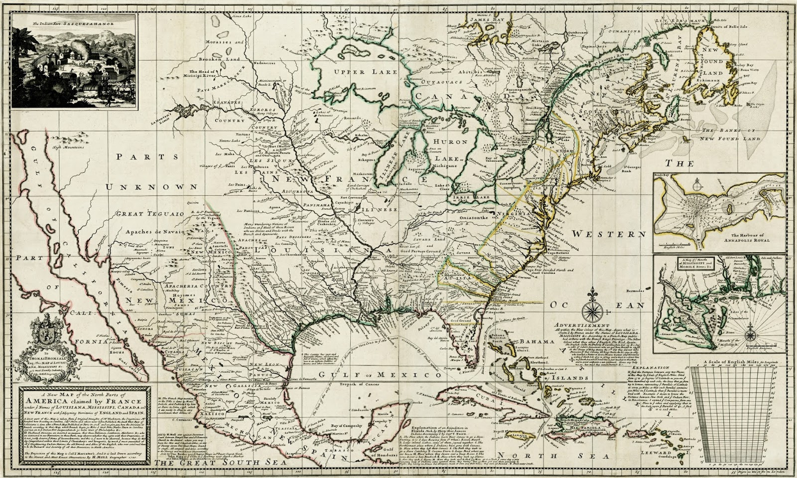 the publication of delisle s map provoked herman moll to issue a new map of north america to highlight the incroachments shown on delisle s map