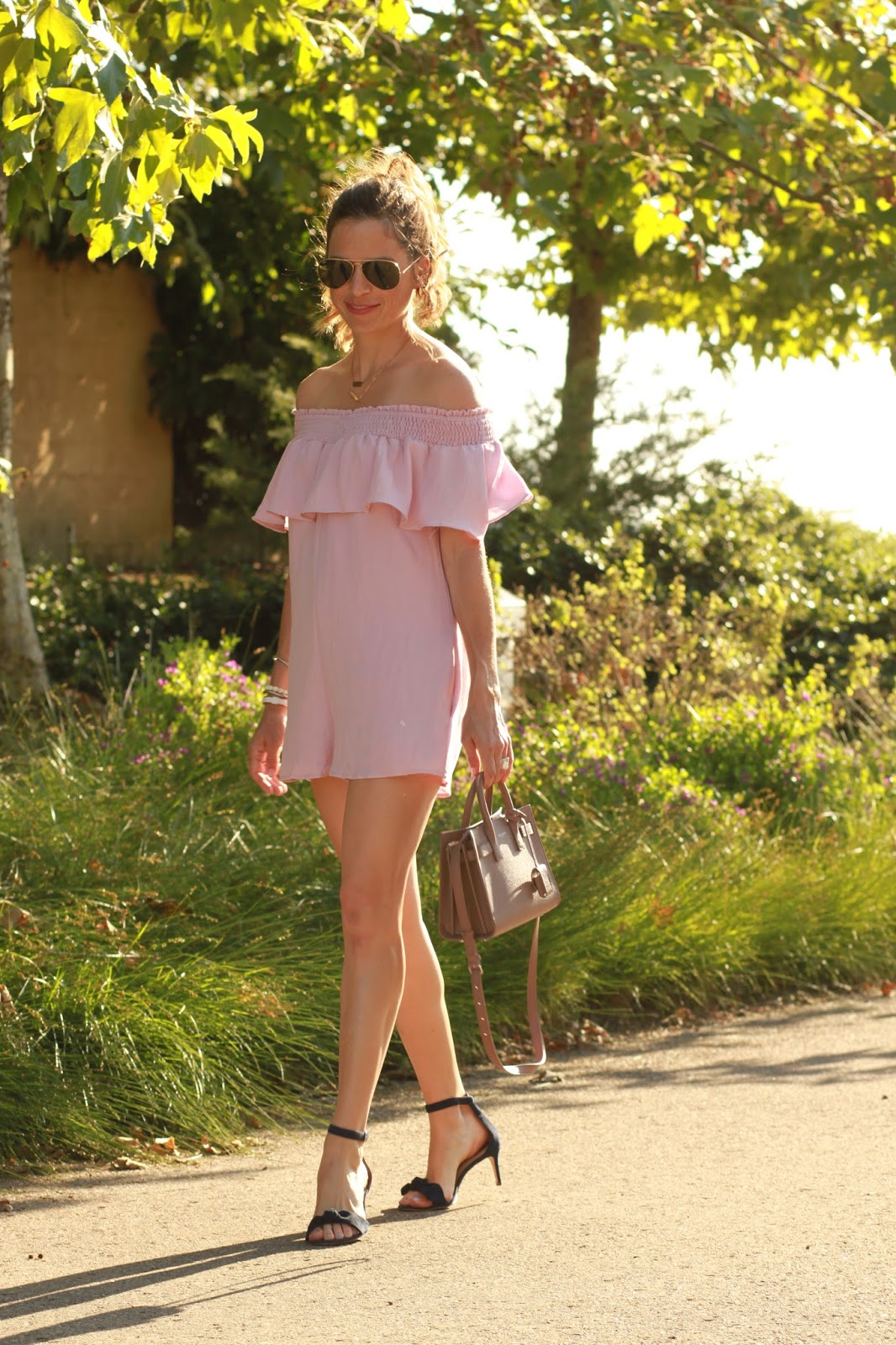 pink off the shoulder romper