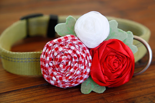 DIY rolled ribbon rosette and fabric flower dog collar