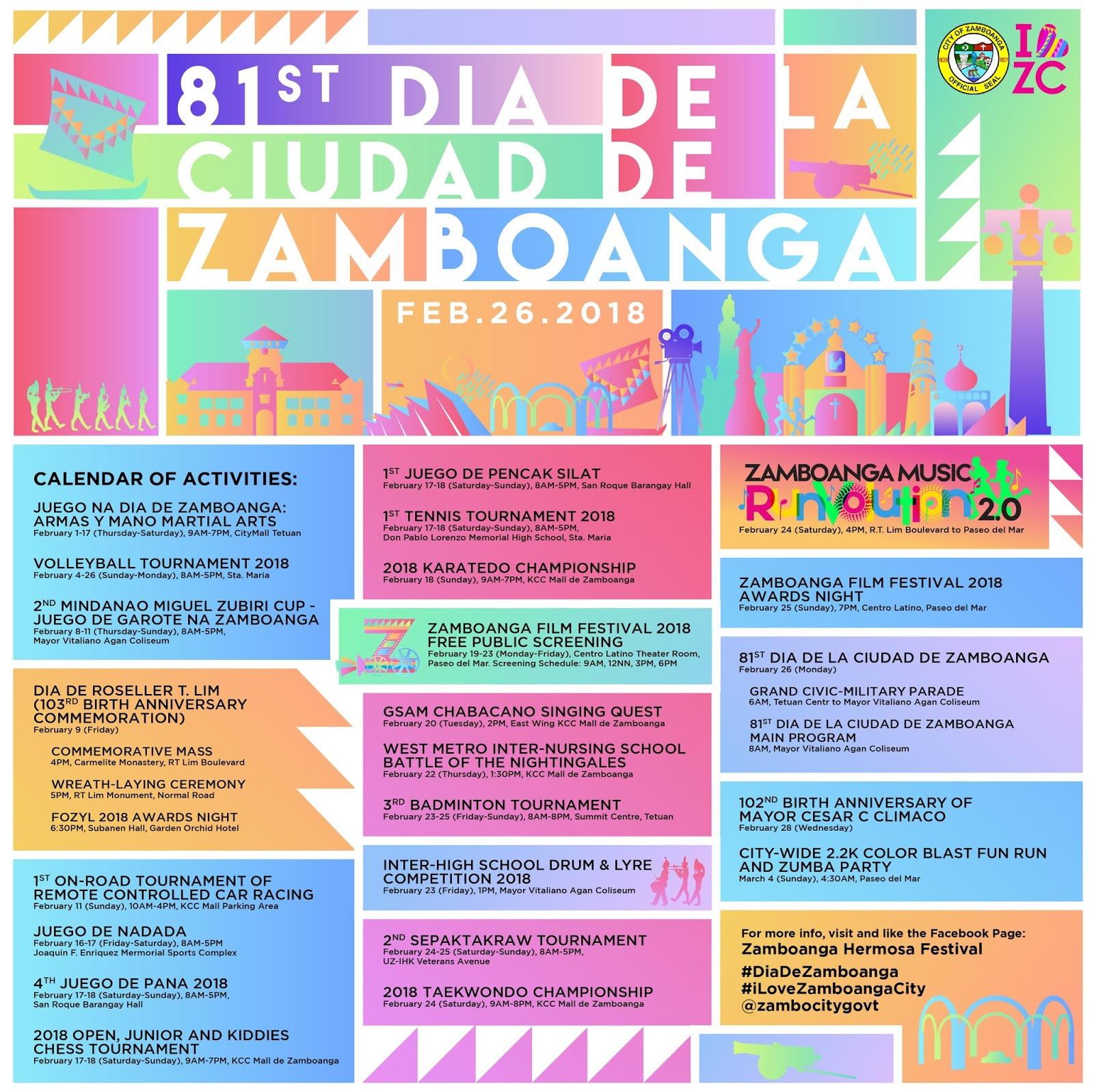 81st Dia de la Ciudad de Zamboanga Schedule Calendar or Activities