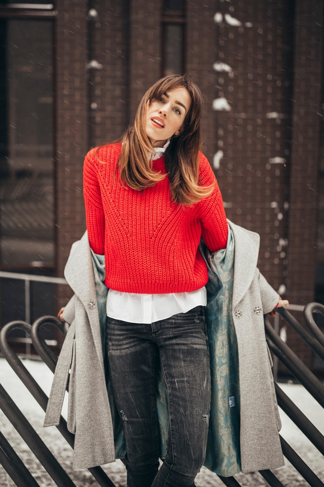 red cable knit sweater outfit winter