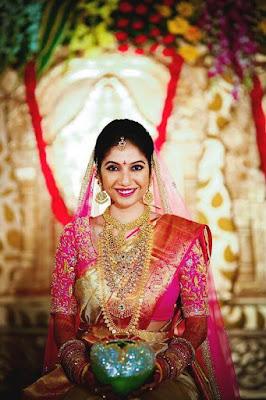 South Indian Bride Looking Gorgeous In Pink Silk Kanchipuram Saree