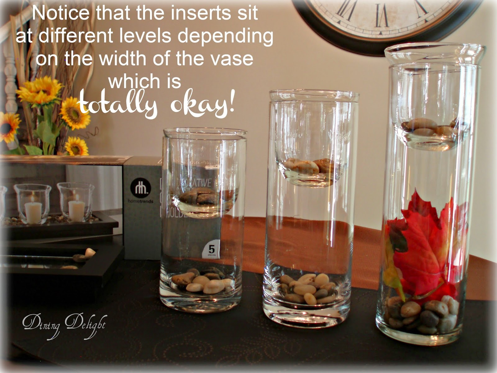 Dining delight cylinder vases with inserts get the look so if you are wanting to create some dramatic yet easy tabletop dcor for the upcoming holiday season and beyond n dont walk to your nearest walmart reviewsmspy