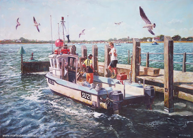 Haven Quay fishing boat Dorset art by Martin Davey