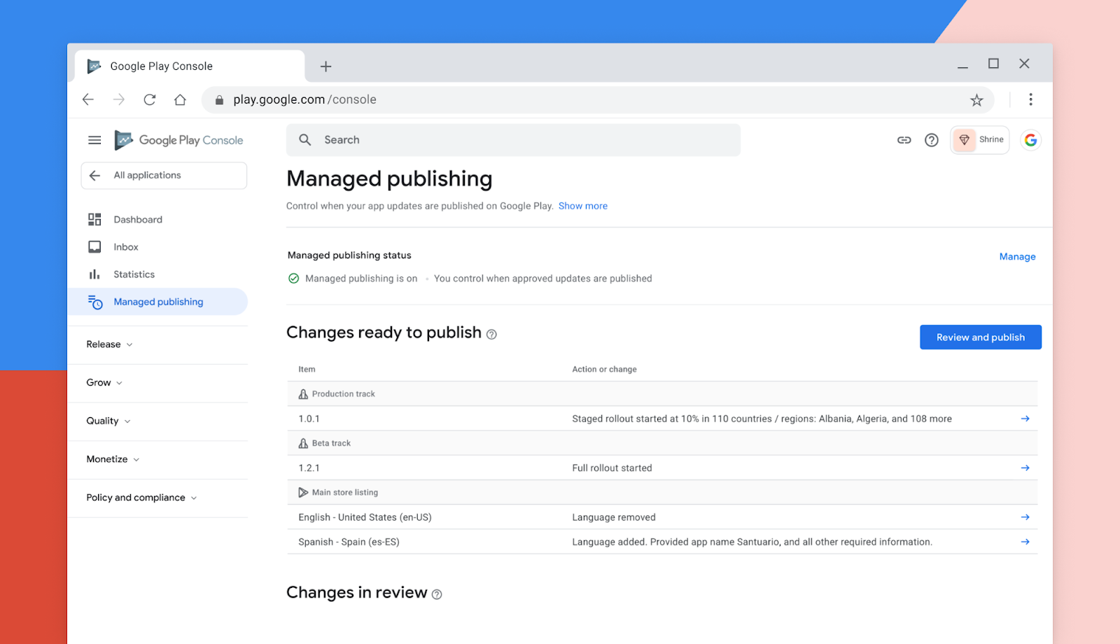 Managed Publishing on Google Play Console