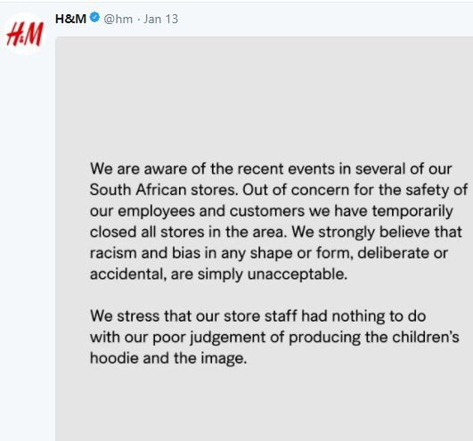 H&M releases statement temporarily closing all its stores in South Africa following vandalization and recent attacks