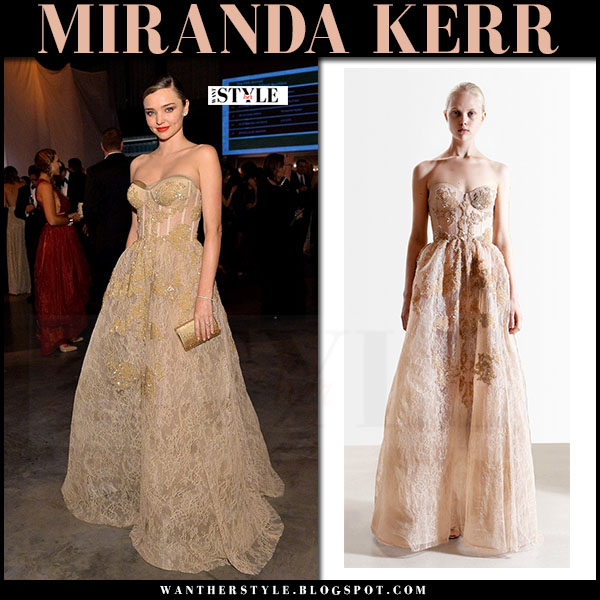 Miranda Kerr in gold bustier embellished gown reem acra what she wore