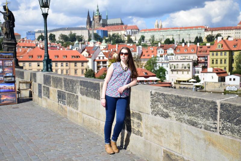 widok z Mostu Karola, na moście Karola w Pradze, Praga most