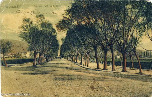 Патот-авенијата што води кон железничката станица на разгледница од 1908 година.