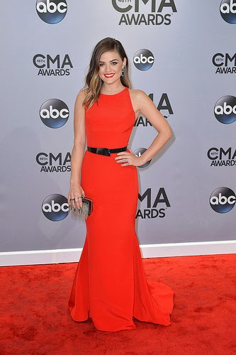 Lucy Hale in red dress