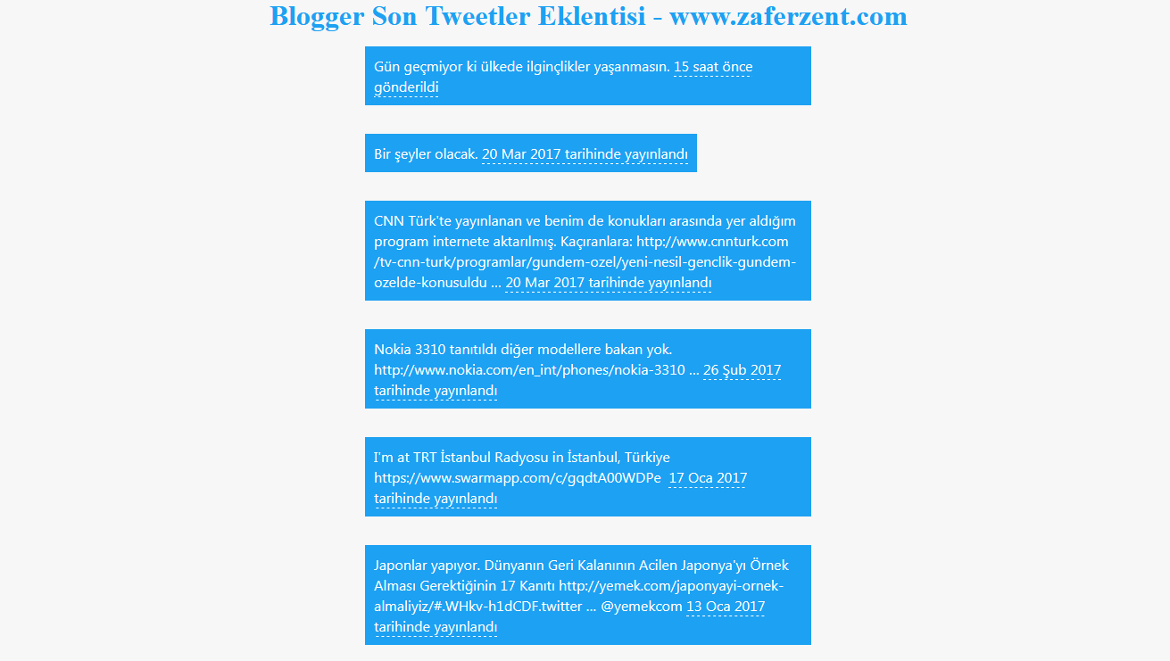 blogger son tweetler eklentisi 2017
