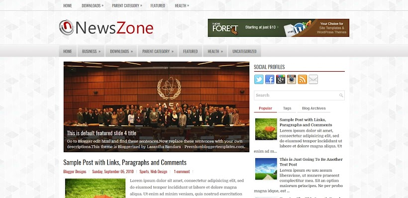NewsZone Free Blogger Template