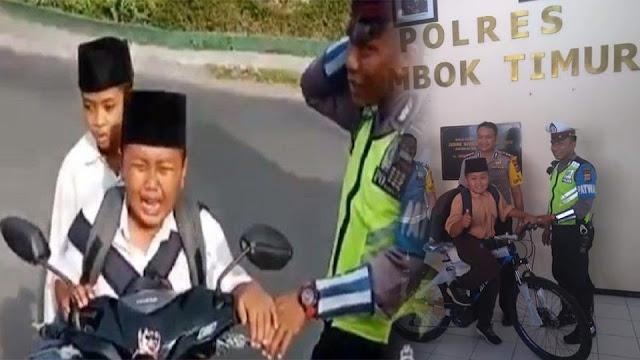 Video Viral! Mendapatkan Sebuah Sepeda Dari Kepolisian Akibat Bocah Dibawa Umur Membawa Sepeda Motor ke Sekolah