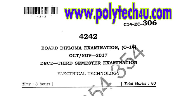 C-14 DIPLOMA ELECTRICAL TECHNOLOGY MODEL PAPER 2017 SBTETAP
