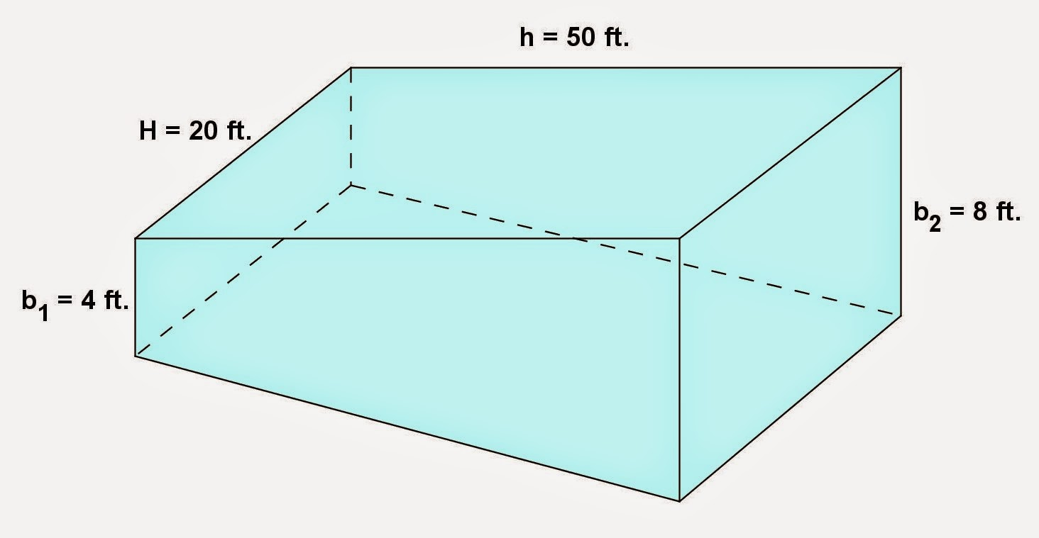 Math principles trapezoid prism problems 3 - How to calculate swimming pool volume ...