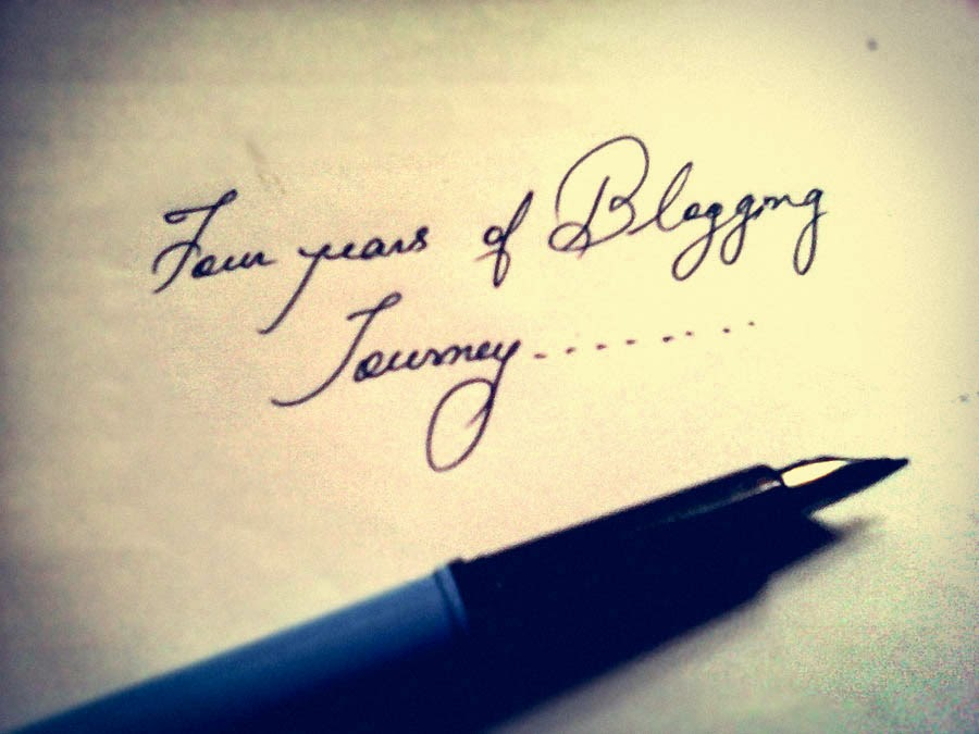 Blog anniversary, cursive handwriting, writing with fountain pen