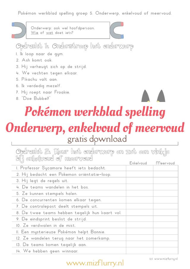 Genoeg Pokémon werkblad: Onderwerp, enkelvoud of meervoud - MizFlurry @NH96