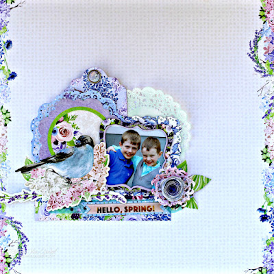 One Scrapbook Page Three Ways featuring BoBunny Secret Garden designed by Rhonda Van Ginkel - Middle View
