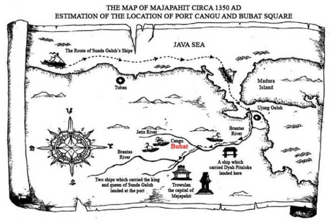 Peta kedatangan Kerajaan Galuh Saat Tragedi Perang Bubat