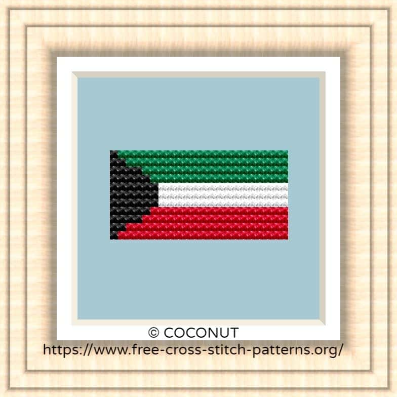 NATIONAL FLAG OF KUWAIT CROSS STITCH CHART