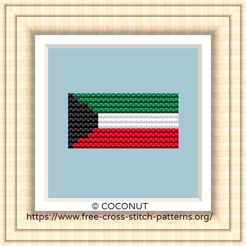 NATIONAL FLAG OF KUWAIT CROSS STITCH CHART