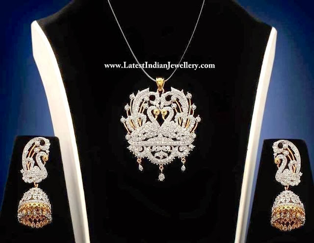 Peacock Diamond Pendant Set