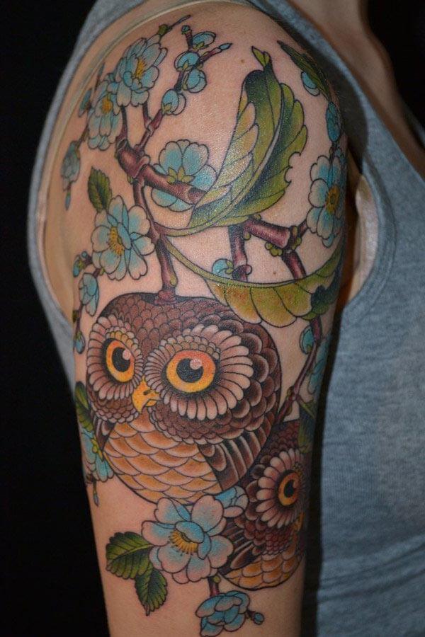 sevimli baykuş kol dövmesi