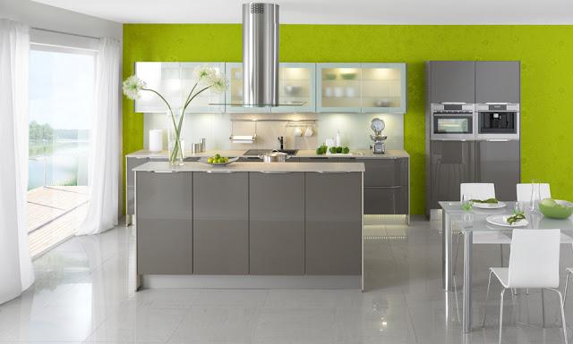 cocina-gris-con-pared-verde