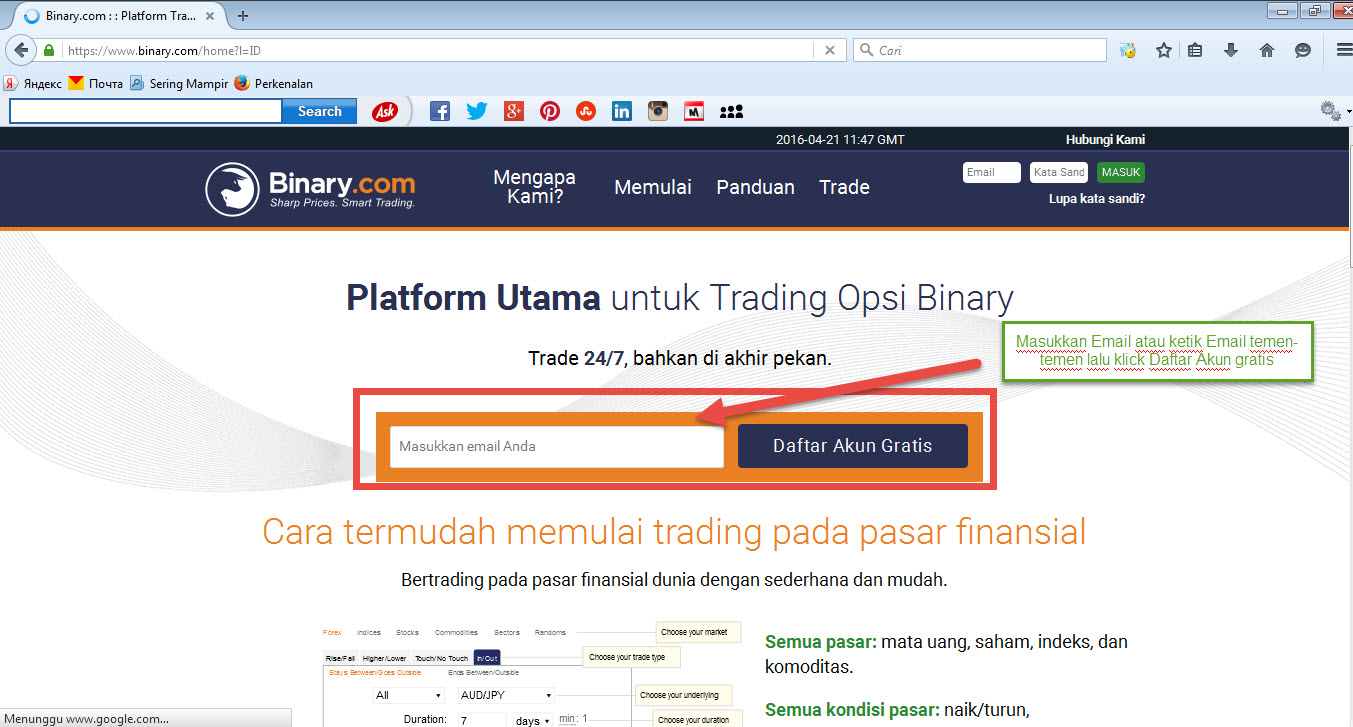 Cara daftar di binary option