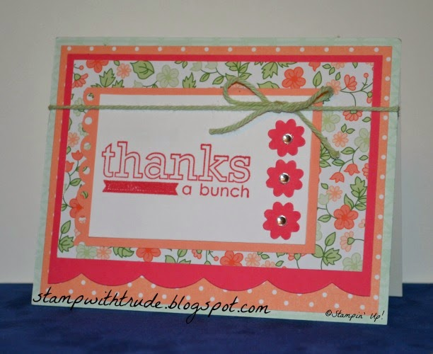Trude Thoman, stampwithtrude.blogspot.com , #stampinup, Stampin' Up!, Thank You card, Occasions 4 You