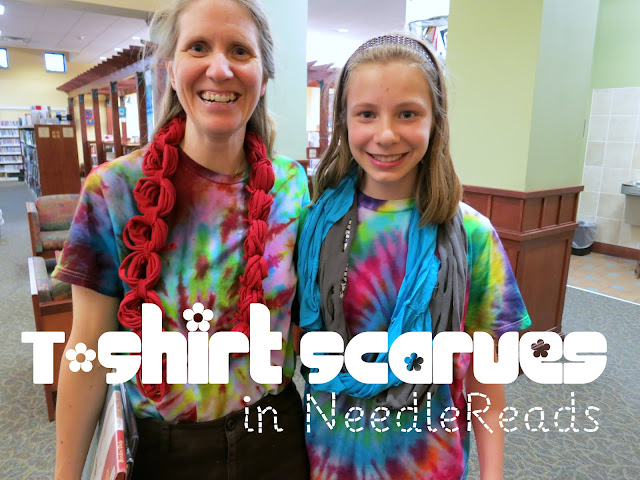 http://librarymakers.blogspot.com/2013/05/needlereads-t-shirt-scarves.html