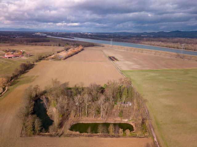 Ouvrage de Rothgern - À l'arrière-plan, Breisach et les ponts sur le Rhin : un effet d'optique suggère une grande distance avec l'ouvrage de Rothgern, il n'en est rien !