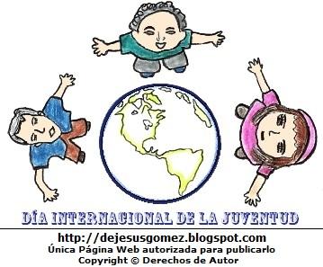 Dibujo por el Día Internacional de la Juventud o Día de la Juventud  (Jóvenes con el planeta tierra por el Día de la Juventud). Dibujo del Día Internacional de la Juventud hecho por Jesus Gómez