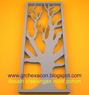 krawangan GRC floral motif tree/ranting pohon