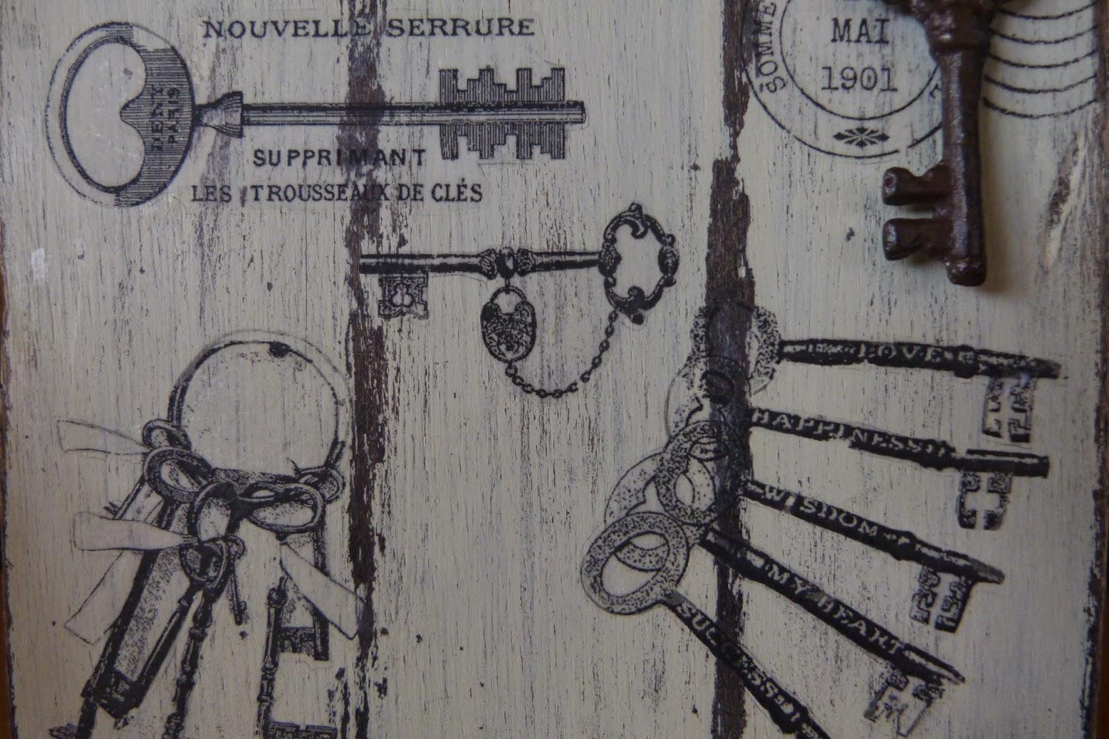 Cartel con transfer de llaves antiguas isabel vintage for Llaves para lavabo antiguas
