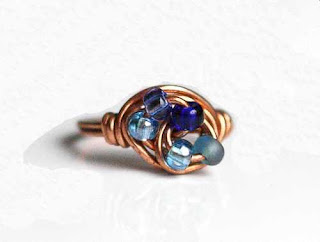 Blue Beaded Copper Swirl Ring