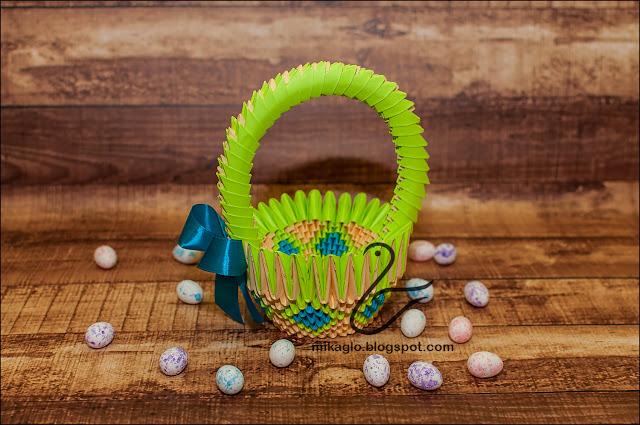 659. Koszyczek na Wielkanoc z origami / 3d origami easter basket