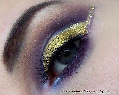złoto fioletowy look