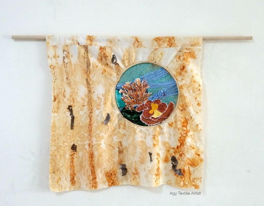 Free motion embroidery Upcycled Art Installation