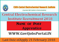 Central Electrochemical Research Institute Recruitment 2018- Apprentice