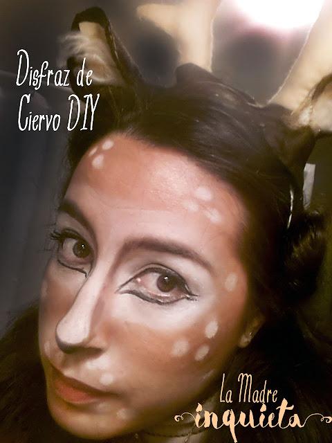 Disfraz de ciervo DIY con cornamenta y maquillaje