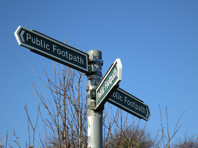 Three handed footpath sign.