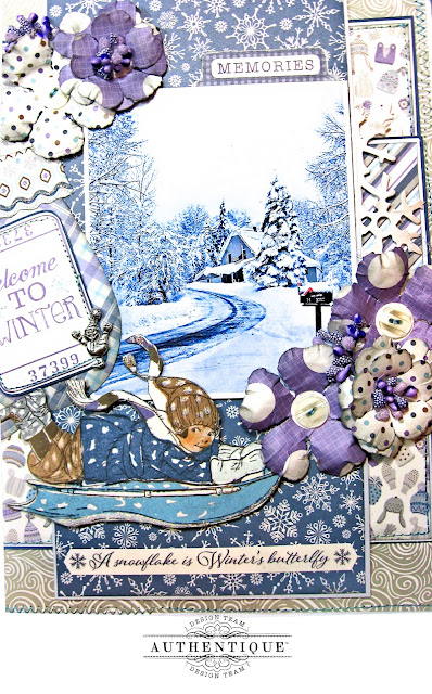 Authentique Frosted Memories Winter Layout by Kathy Clement Photo 06