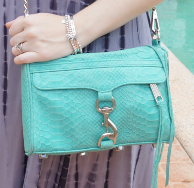 Rebecca Minkoff Aquamarine python embossed mini MAC bag
