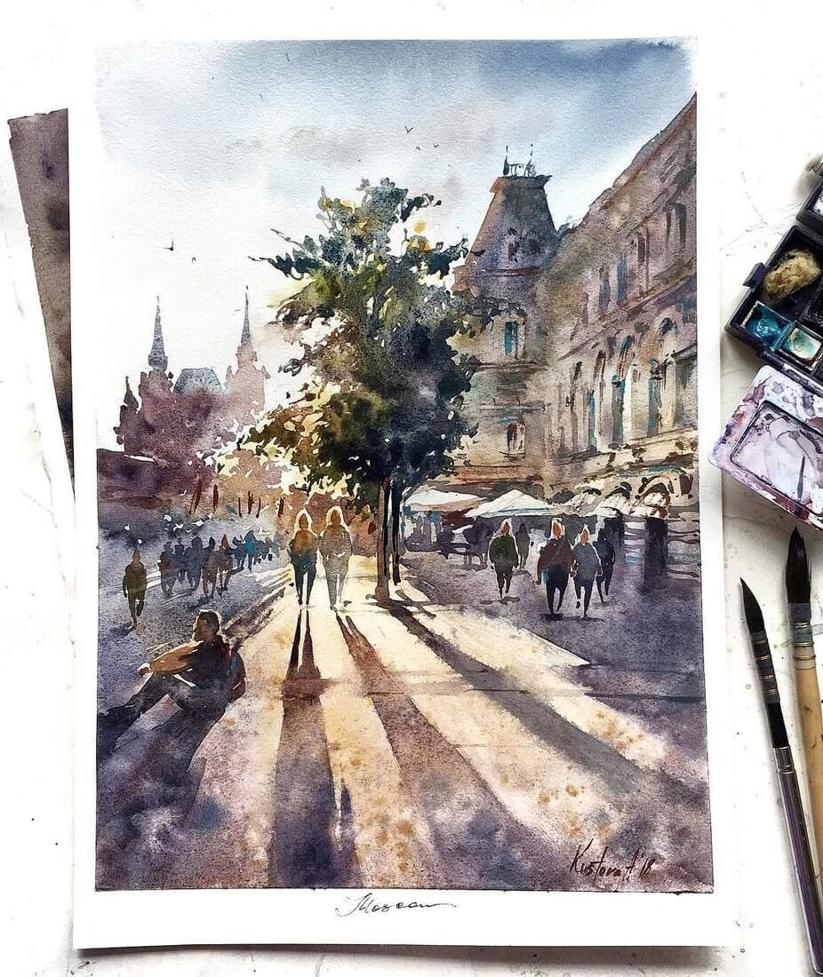 02-Moscow-Anastasia-Kústova-Architectural-Watercolor-Paintings-En-Plein-Air-www-designstack-co