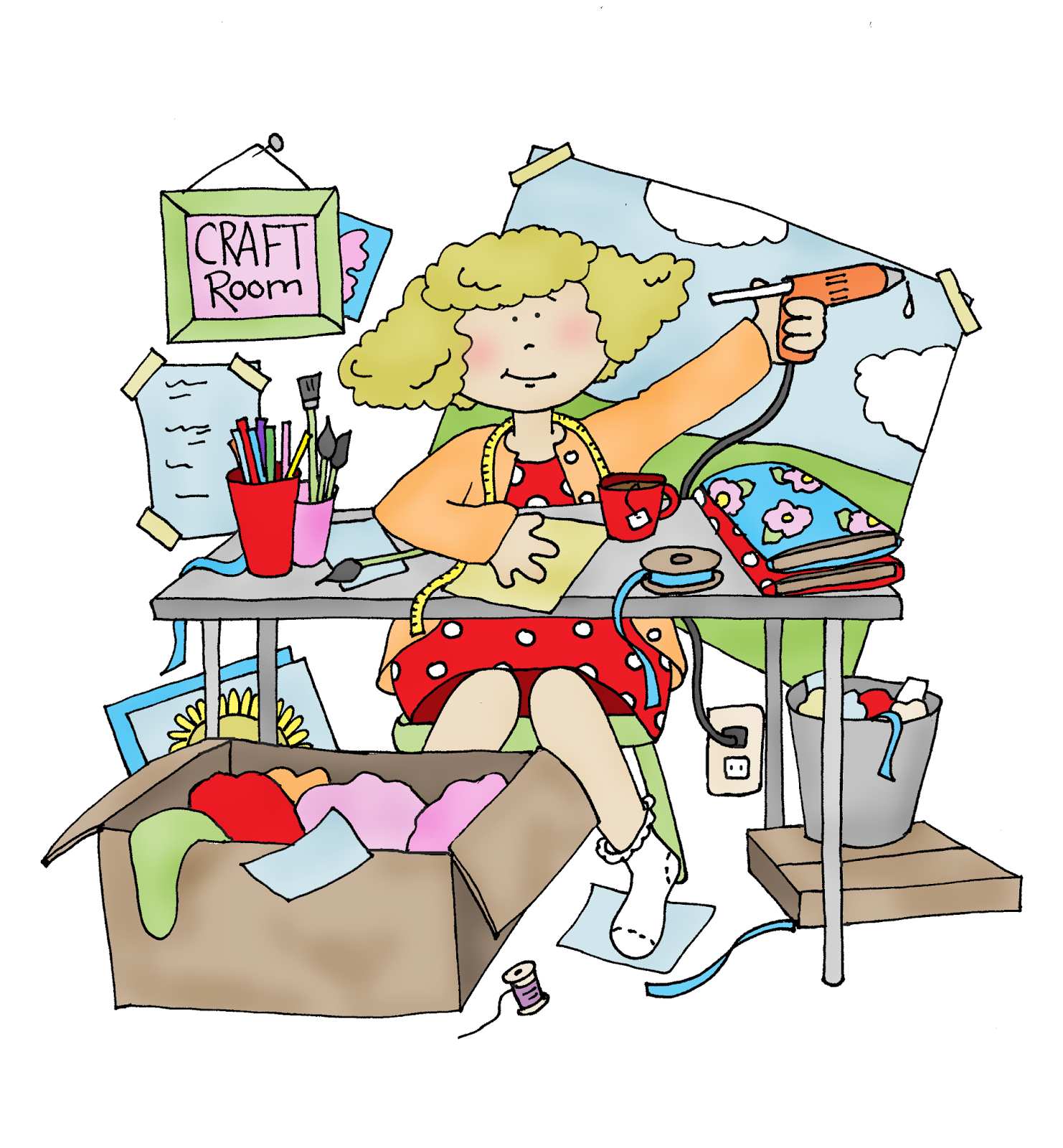 Colorful Mess Room: Free Dearie Dolls Digi Stamps: Messy Craft Room.... Yes, A