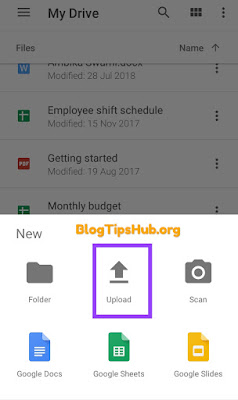 upload files to google drive using android device